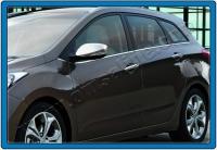 Накладки на зеркала с вырезом под поворот (2 шт, нерж) - Hyundai I-30 (2012+)