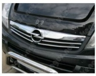 Накладки на решетку с 2007-2013  (4 шт, нерж) - Opel Vivaro