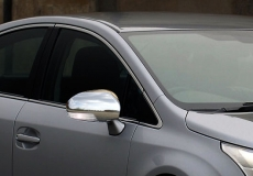 Накладки на зеркала (2 шт, нерж) - Toyota Avensis (2009+)