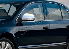Накладки не зеркала (2 шт, нерж) - Skoda Superb (2009+)